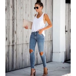 free people busted knee skinny ankle jeans